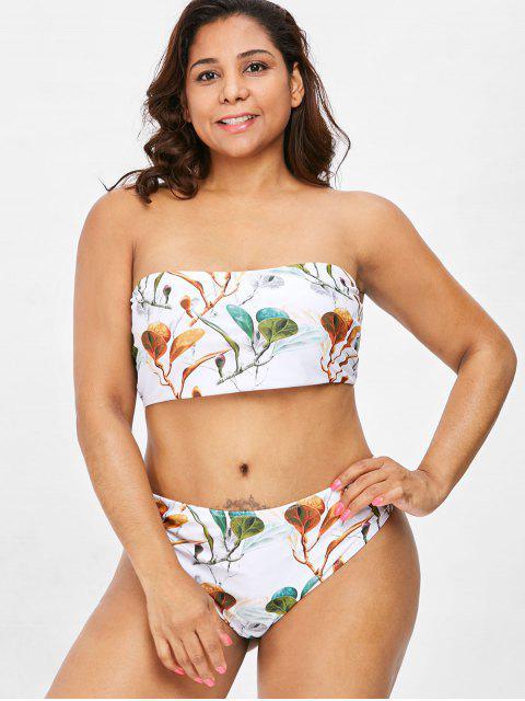 Conjunto de bikini tipo bandeau con estampado de rama y talla grande - Blanco 2X Mobile