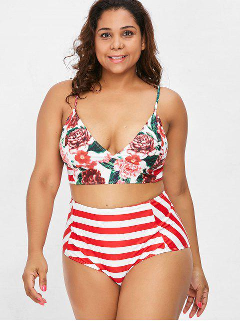 lady Striped Floral Plus Size High Waisted Bikini Set - RED XL Mobile