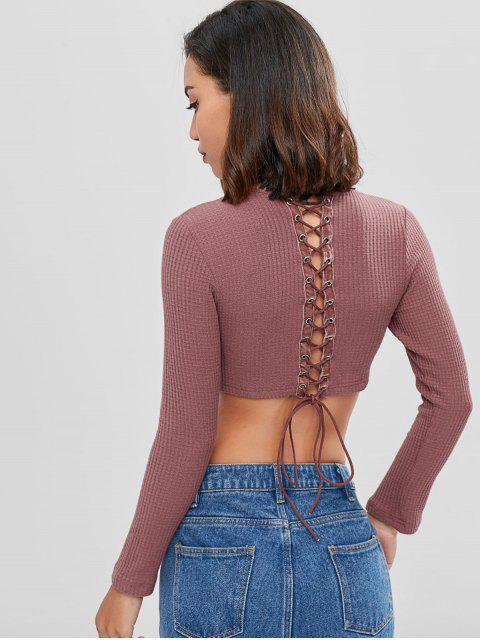 new Long Sleeve Lace Up Knit Cropped Sweater - LIPSTICK PINK L Mobile