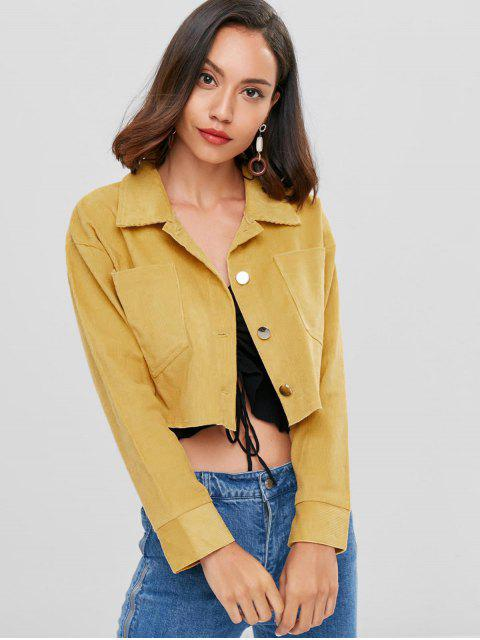 chic Drop Shoulder Corduroy Cropped Jacket - GOLDENROD M Mobile