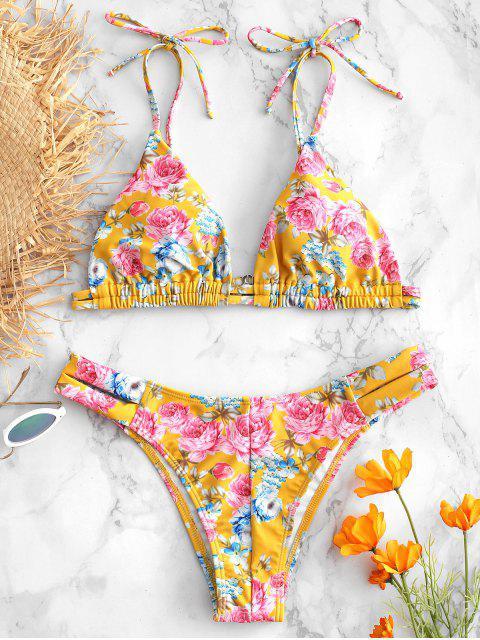 Ensemble de Bikini Fleur à Epaule Nouée - Brun Doré L Mobile