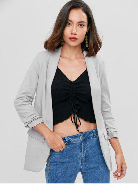 ladies Flap Pockets Shawl Collar Boyfriend Blazer - GRAY L Mobile
