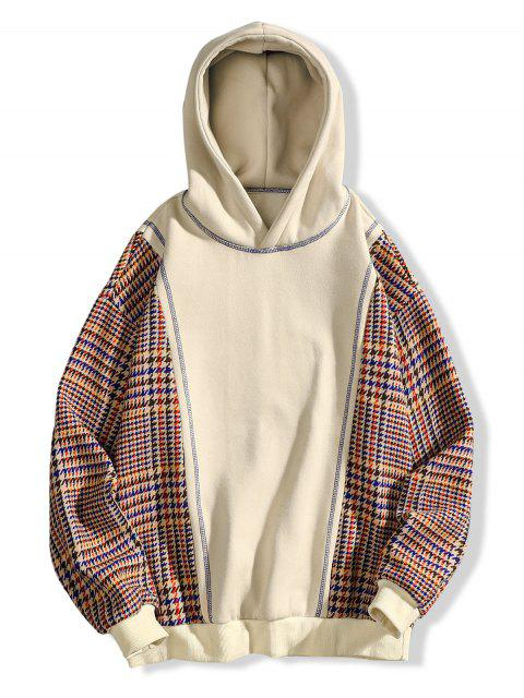 trendy Seam Detail Checked Patch Fleece Hoodie - APRICOT XL Mobile
