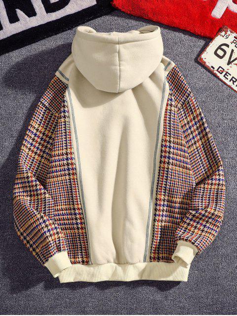 fashion Seam Detail Checked Patch Fleece Hoodie - APRICOT 2XL Mobile