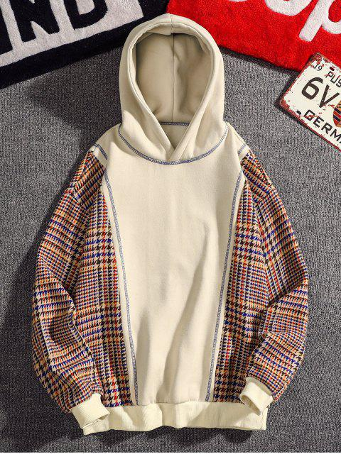 fancy Seam Detail Checked Patch Fleece Hoodie - APRICOT 4XL Mobile