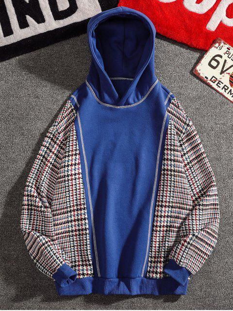 affordable Seam Detail Checked Patch Fleece Hoodie - BLUE XL Mobile