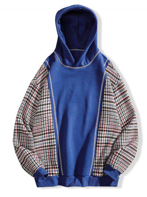 womens Seam Detail Checked Patch Fleece Hoodie - BLUE 3XL Mobile