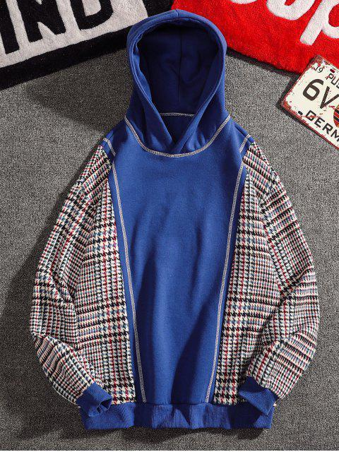 women Seam Detail Checked Patch Fleece Hoodie - BLUE 4XL Mobile