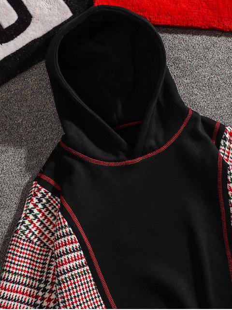 ladies Seam Detail Checked Patch Fleece Hoodie - BLACK L Mobile