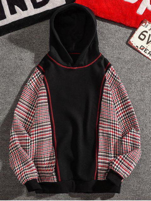 online Seam Detail Checked Patch Fleece Hoodie - BLACK 3XL Mobile