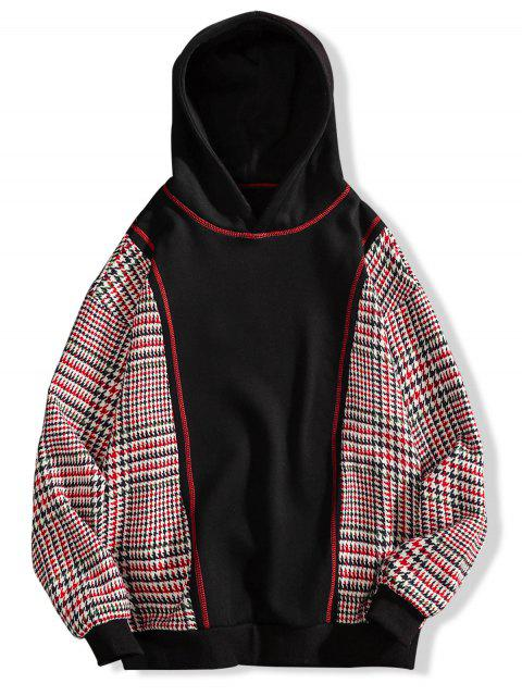 new Seam Detail Checked Patch Fleece Hoodie - BLACK 4XL Mobile