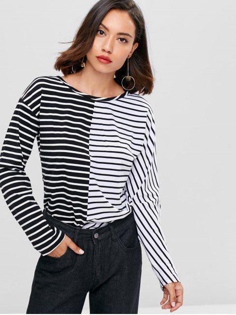 lady Contrasting Stripes Tee - BLACK M Mobile