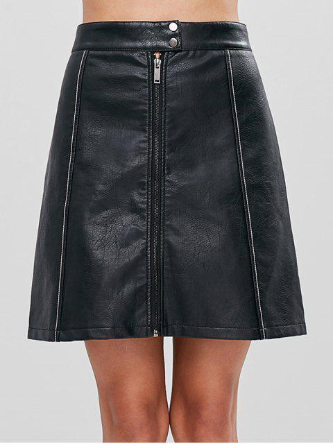 affordable A Line Faux Leather Skirt - BLACK L Mobile
