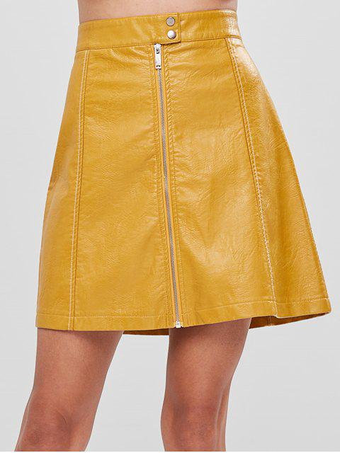 women A Line Faux Leather Skirt - YELLOW M Mobile