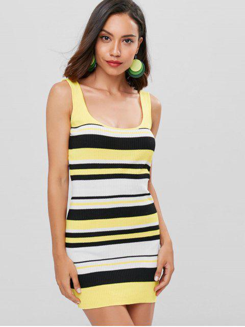 sale Striped Mini Tank Dress - RUBBER DUCKY YELLOW L Mobile