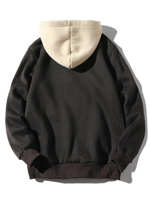 outfits Color-blocking Letter Patch Detail Pouch Pocket Fleece Hoodie - BLACK XS Mobile