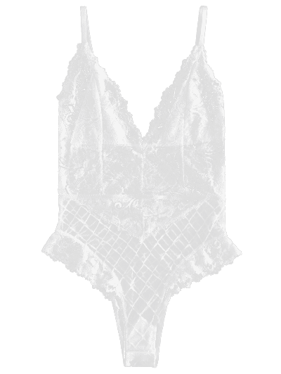 30df2eec464 Sheer Lace Snap Crotch Lingerie Teddy Bodysuit