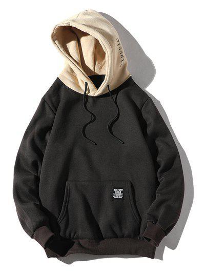 Color-blocking Letter Patch Detail Pouch Pocket Fleece Hoodie - Black S