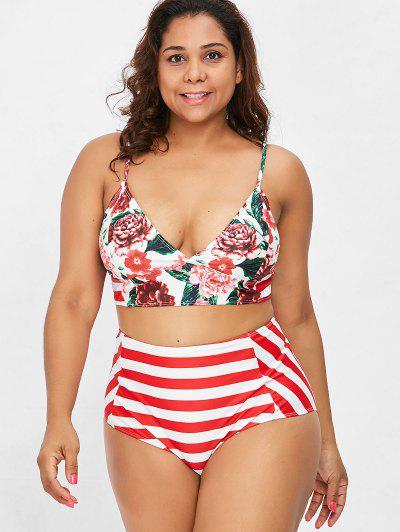 Striped Floral Plus Size High Waisted Bikini Set - Red Xl