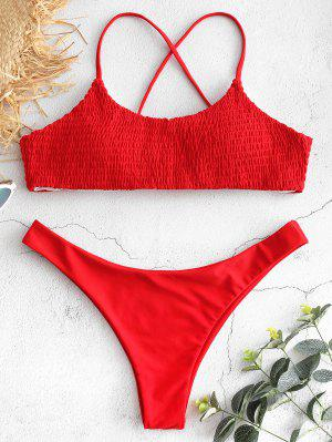 Lace-up Cross Strap Smocked Bikini - Love Red S