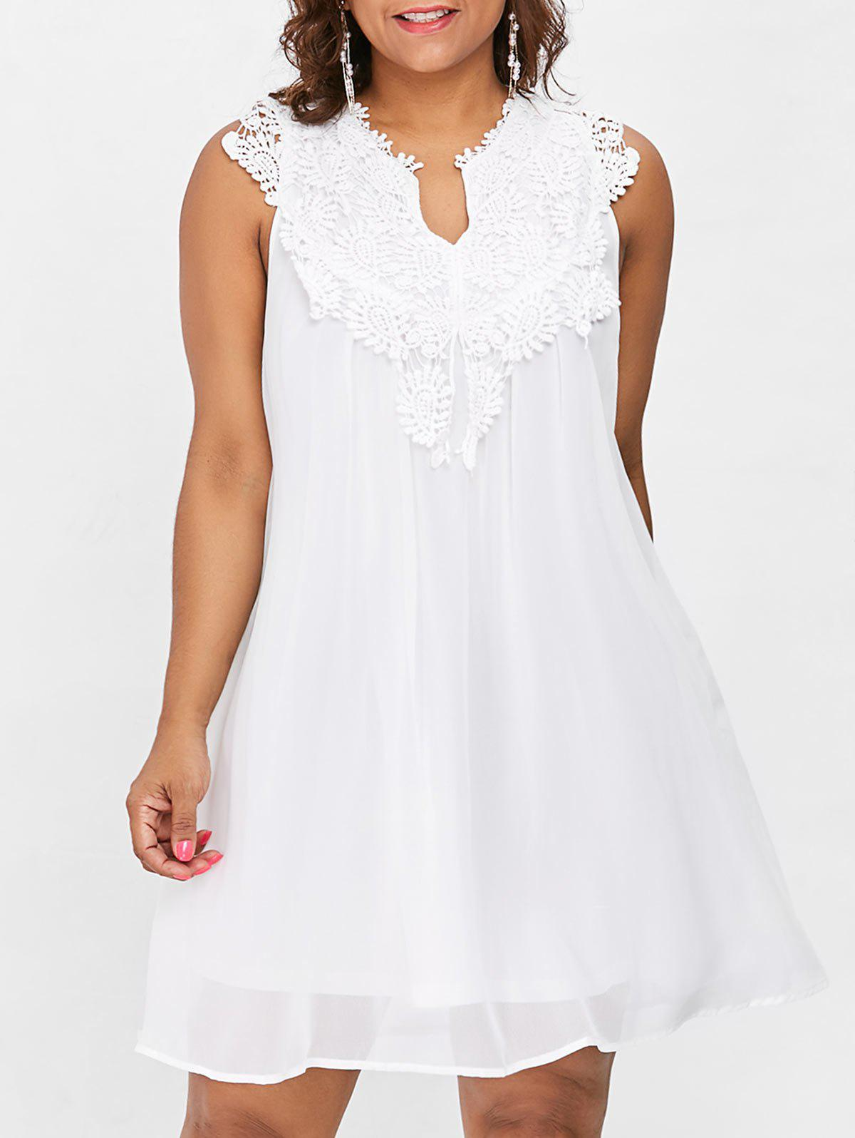 Plus Size Hollow Out Lace Panel Dress