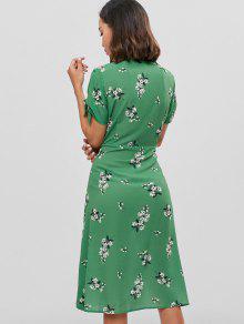 Recortados L Verde Con A Vestido Pierna Botones Florales Media f6Ygawqxv