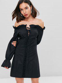 مشد معطلة الكتف قليلا اللباس القميص - أسود L