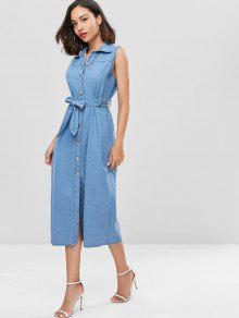 Mezclilla Vestido M Azul Con Denim De Botones BqYxqr5S