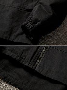 Cremallera Capucha Negro Bolsillos Chaqueta En Con Contraste Laterales Con Xl Con 15zpYqwp