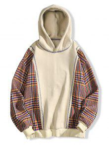 Xl Patch De Fleece Costura Checked Hoodie Albaricoque Detalle CFtqx0w0