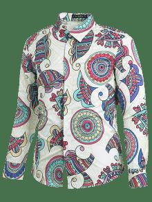 M 233;tnico Geom Estampado Estilo Blanco 233;trico De De Camisa 7Pwq88