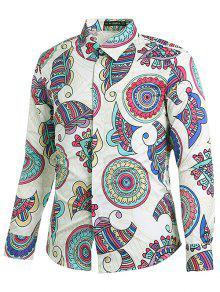 نمط العرقية طباعة قميص هندسي - حليب ابيض L