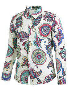 نمط العرقية طباعة قميص هندسي - حليب ابيض M