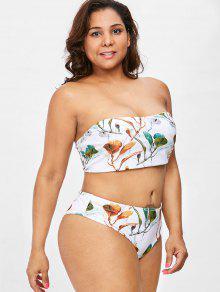 Blanco Bandeau Grande 3x Talla Rama Conjunto Con Estampado De Y De Tipo Bikini tWqPS1