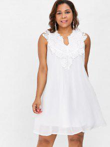 23% OFF] 2019 Plus Size Lace Chiffon Dress In WHITE | ZAFUL