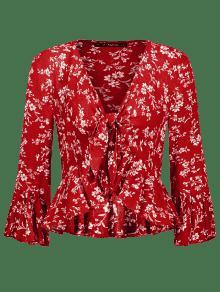 Rojo Delantera Con Lazo Floral Con S Parte Volantes De o Top Casta qwECvBan