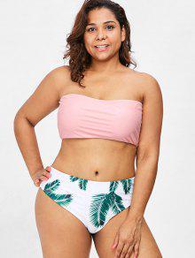 Talla Claro Bikini Grande 3x Rosa Estampado De Con Y Hojas Conjunto De aFwq0OTvR