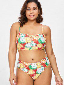 Conjunto De Bikini Floral De Talla Grande - Multicolor 1x
