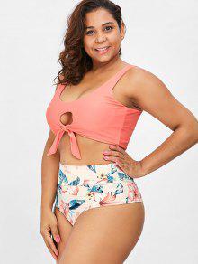 Conjunto L De Grande De Bikini Talla Con Anudado Estampado Rosa rqrCpU