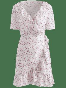 L Volantes Floral Estampado o De Vestido Blanco Con Peque 8ZqxnYw