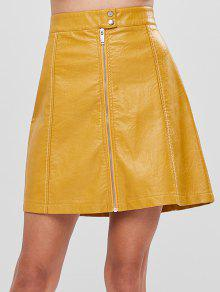 تنورة خط فو جلدية - الأصفر L