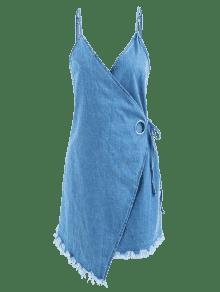 Vestido De Mezclilla Largo S De Vuelta Azul Con Cami FRx6HF