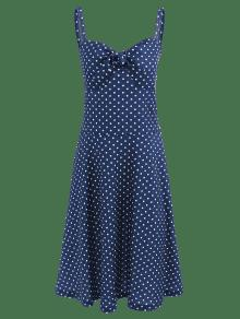 Vestido Y De Azul Lunares Media Medianoche Llamarada Con Pierna Forma En A M rqnC0xFr