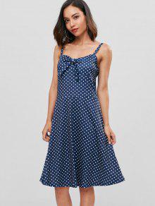 فستان بقصة ضيقة وواسعة منقط - منتصف الليل الأزرق L