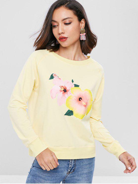 Sweat-shirt Floral Graphique à Manches Raglan - Jaune de Maïs  L