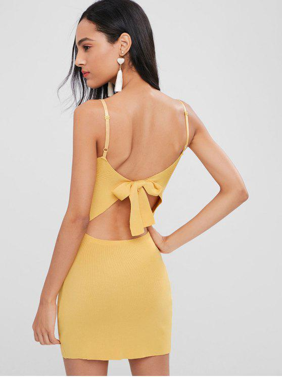 outfits Bowknot Back Knitted Mini Dress - GOLDENROD ONE SIZE