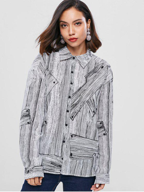 chic Graphic Drop Shoulder Shirt - LIGHT GRAY ONE SIZE