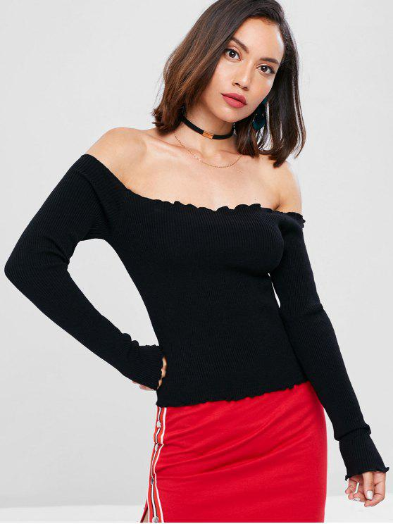 d79403a5c2c 63% OFF] 2019 Ribbed Off The Shoulder Sweater In BLACK | ZAFUL English