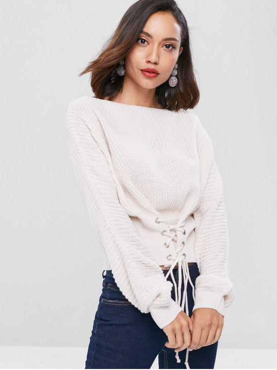 affordable Lace Up Slash Neck Bandage Sweater - WHITE ONE SIZE