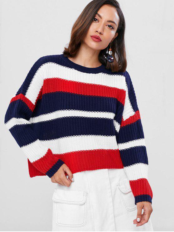Drop Schulter Gestreifter Farbblock Übergroße Pullover - Rot Eine Größe